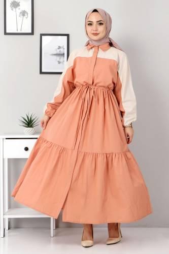 Tesettür Dünyası - Two Color Dress TSD4416 Light Orange
