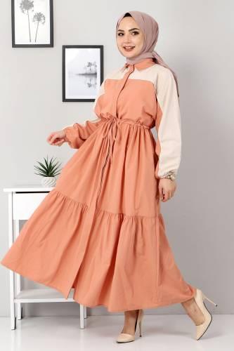 Çift Renkli Elbise TSD4416 Somon - Thumbnail