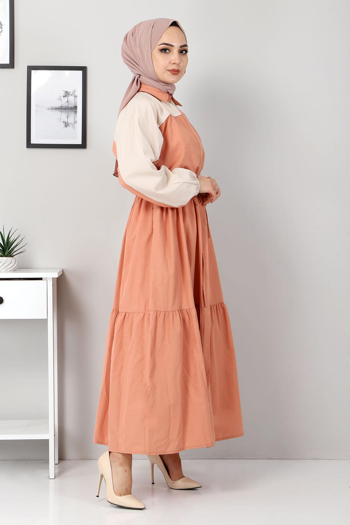 Çift Renkli Elbise TSD4416 Somon