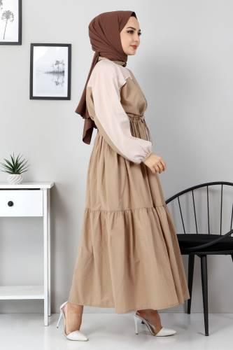 Tesettür Dünyası - Double Color Dress TSD4416 Dark Beige (1)