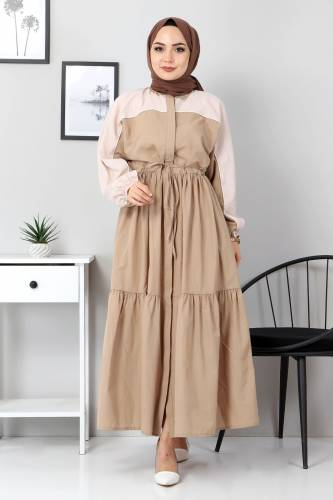 Tesettür Dünyası - Double Color Dress TSD4416 Dark Beige