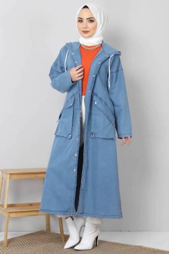Tesettür Dünyası - Çıtçıtlı Kot Kap TSD4143 Açık Mavi
