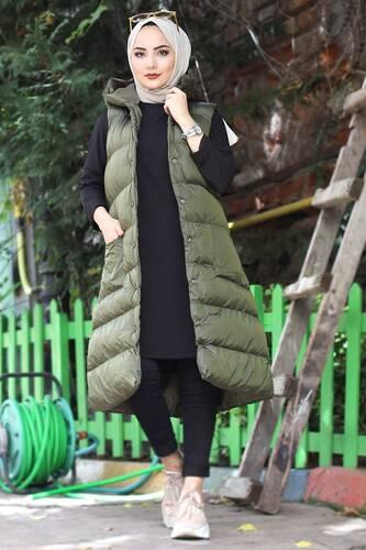Tesettür Dünyası - Snap Fastener Inflatable Vest TSD1524 Khaki