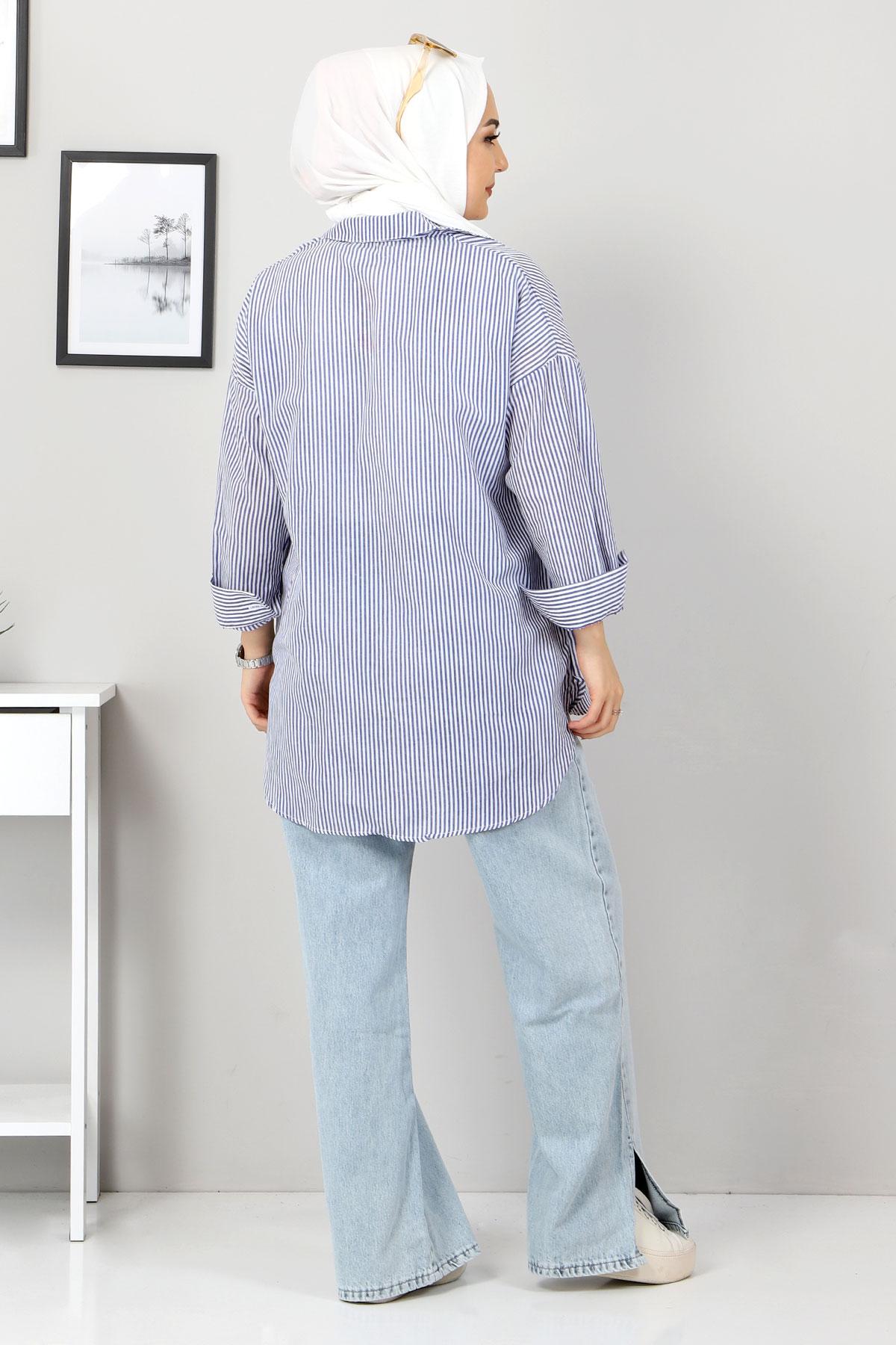 Çizgili Gömlek TSD3315 İndigo