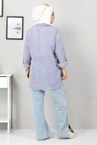 Çizgili Gömlek TSD3315 İndigo - Thumbnail
