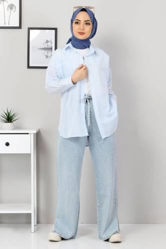 Çizgili Gömlek TSD3315 Mavi - Thumbnail