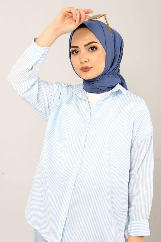 Çizgili Gömlek TSD3315 Mavi