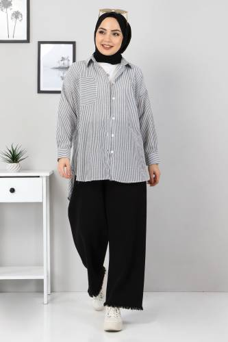 Tesettür Dünyası - Çizgili Gömlek TSD3315 Siyah