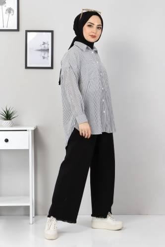 Tesettür Dünyası - Çizgili Gömlek TSD3315 Siyah (1)