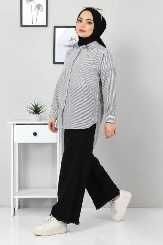 Çizgili Gömlek TSD3315 Siyah - Thumbnail