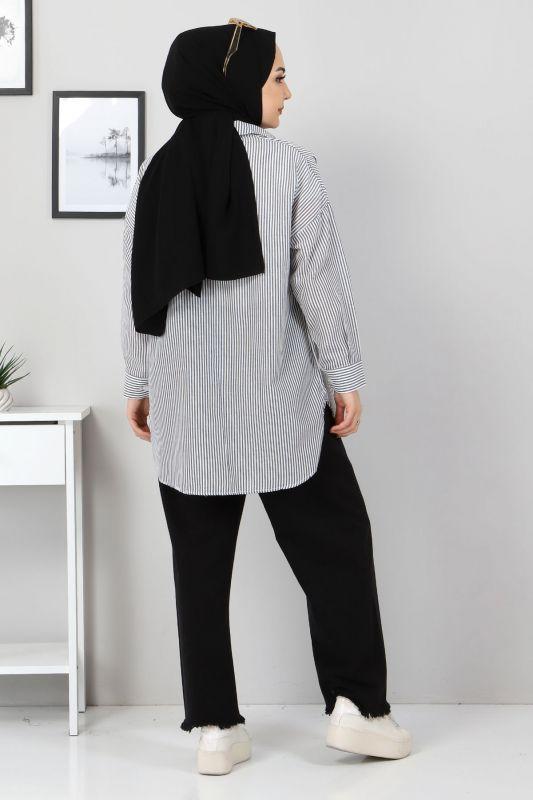 Çizgili Gömlek TSD3315 Siyah