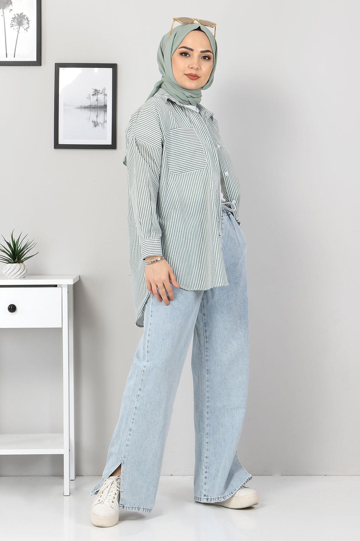 Çizgili Gömlek TSD3315 Haki
