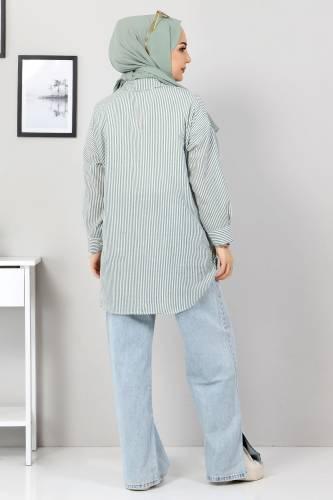 Çizgili Gömlek TSD3315 Haki - Thumbnail