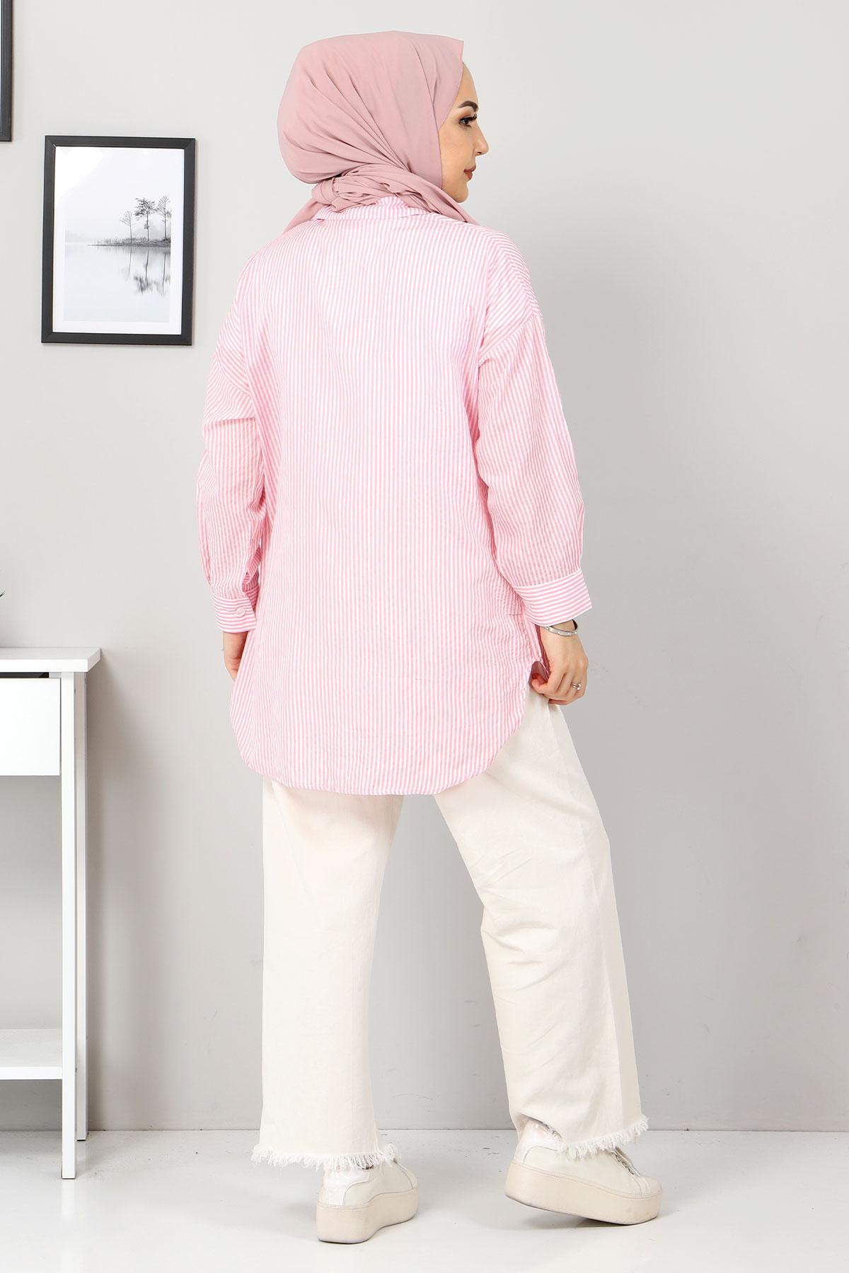 Çizgili Gömlek TSD3315 Pembe