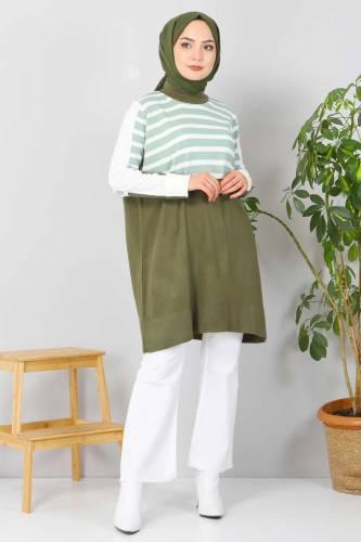 Tesettür Dünyası - Çizgili Triko Tunik TSD2019 Mint Yeşili