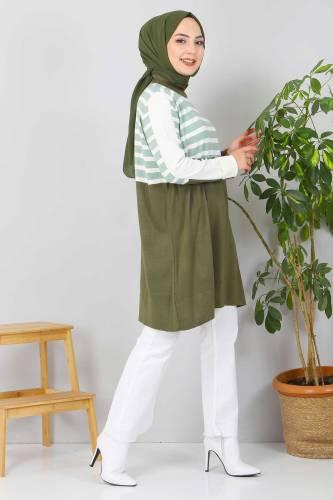 Çizgili Triko Tunik TSD2019 Mint Yeşili - Thumbnail