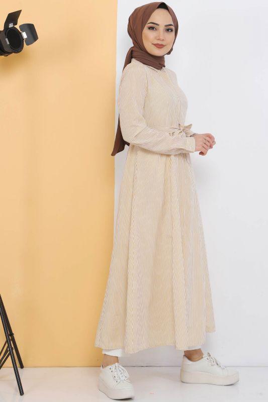Çizgili Uzun Tunik TSD1800 Hardal