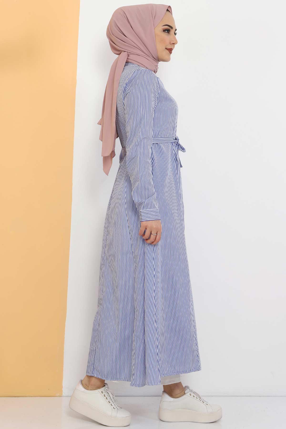 Çizgili Uzun Tunik TSD1800 Mavi
