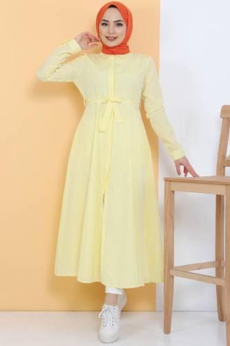 Tesettür Dünyası - Çizgili Uzun Tunik TSD1800 Sarı
