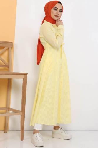 Çizgili Uzun Tunik TSD1800 Sarı - Thumbnail