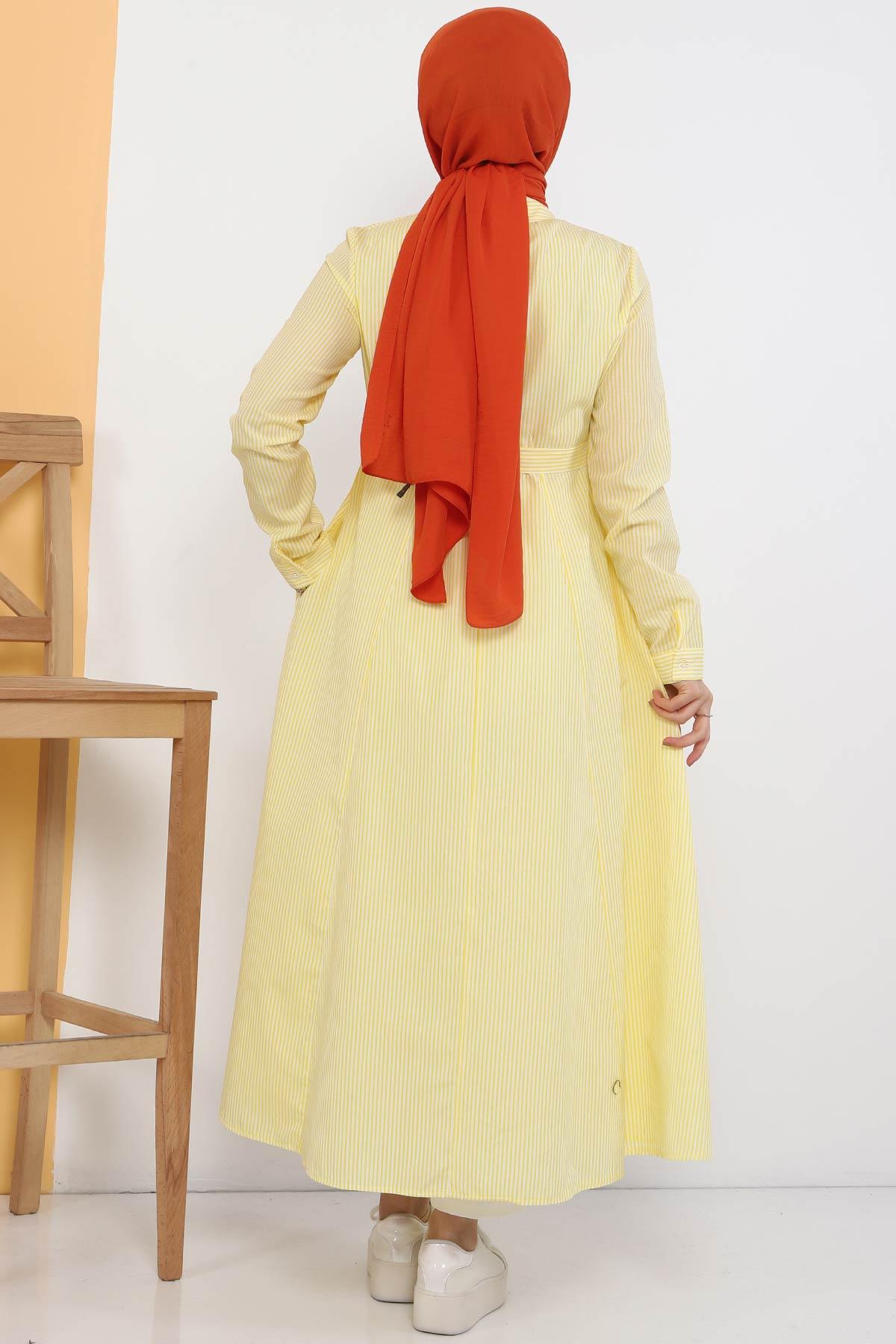 Çizgili Uzun Tunik TSD1800 Sarı