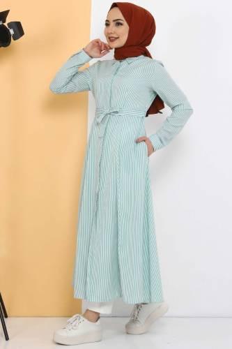 Tesettür Dünyası - Çizgili Uzun Tunik TSD1800 Yeşil