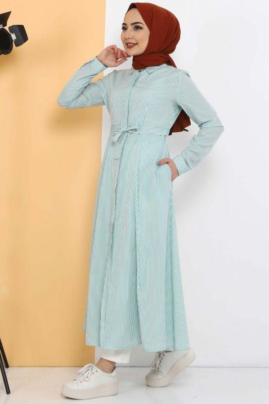 Çizgili Uzun Tunik TSD1800 Yeşil