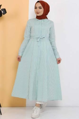 Çizgili Uzun Tunik TSD1800 Yeşil - Thumbnail