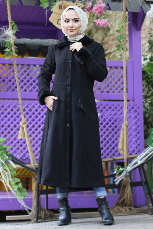 Collar & Sleeve Fur Cachet Coat TSD0204 Black