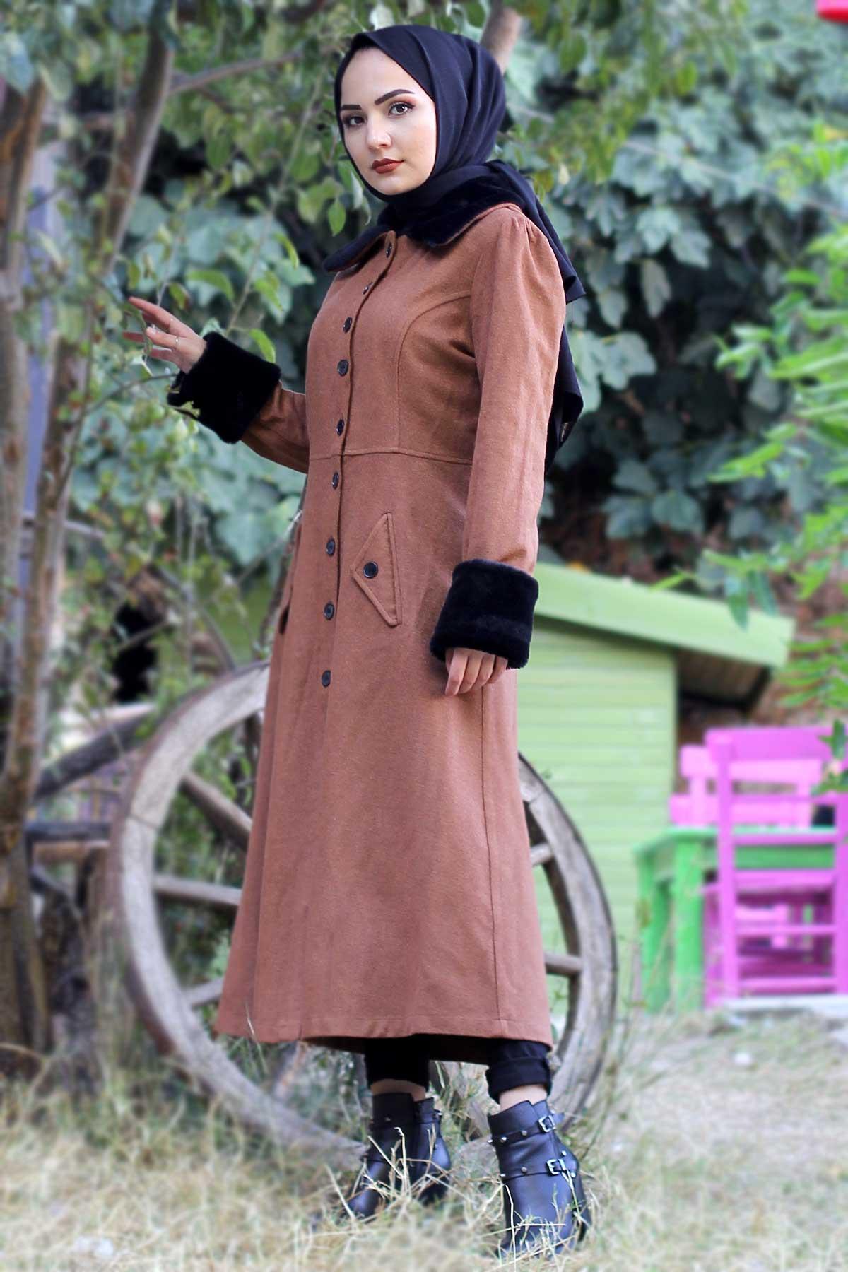 Collar & Sleeves Fur Cachet Coat TSD0204 Tan