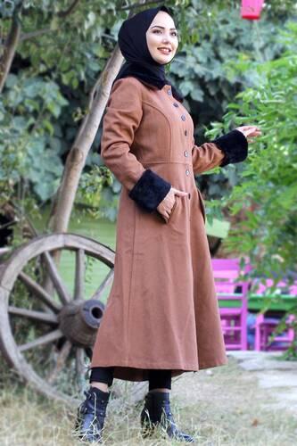 Collar & Sleeves Fur Cachet Coat TSD0204 Tan - Thumbnail