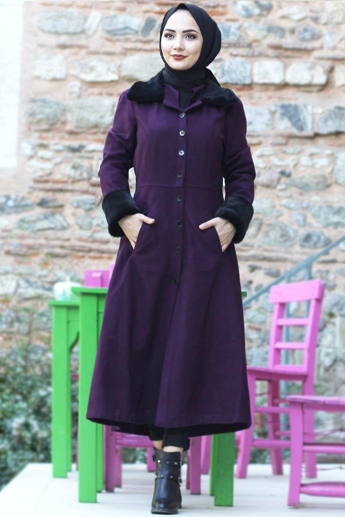 Collar & Sleeves Fur Coat Coat TSD0204 Plum