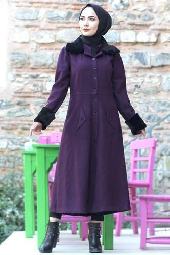 Collar & Sleeves Fur Coat Coat TSD0204 Plum - Thumbnail