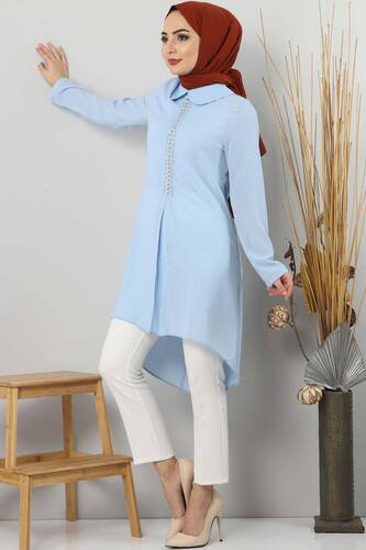 Collar Tunic TSD2531 Blue - Thumbnail