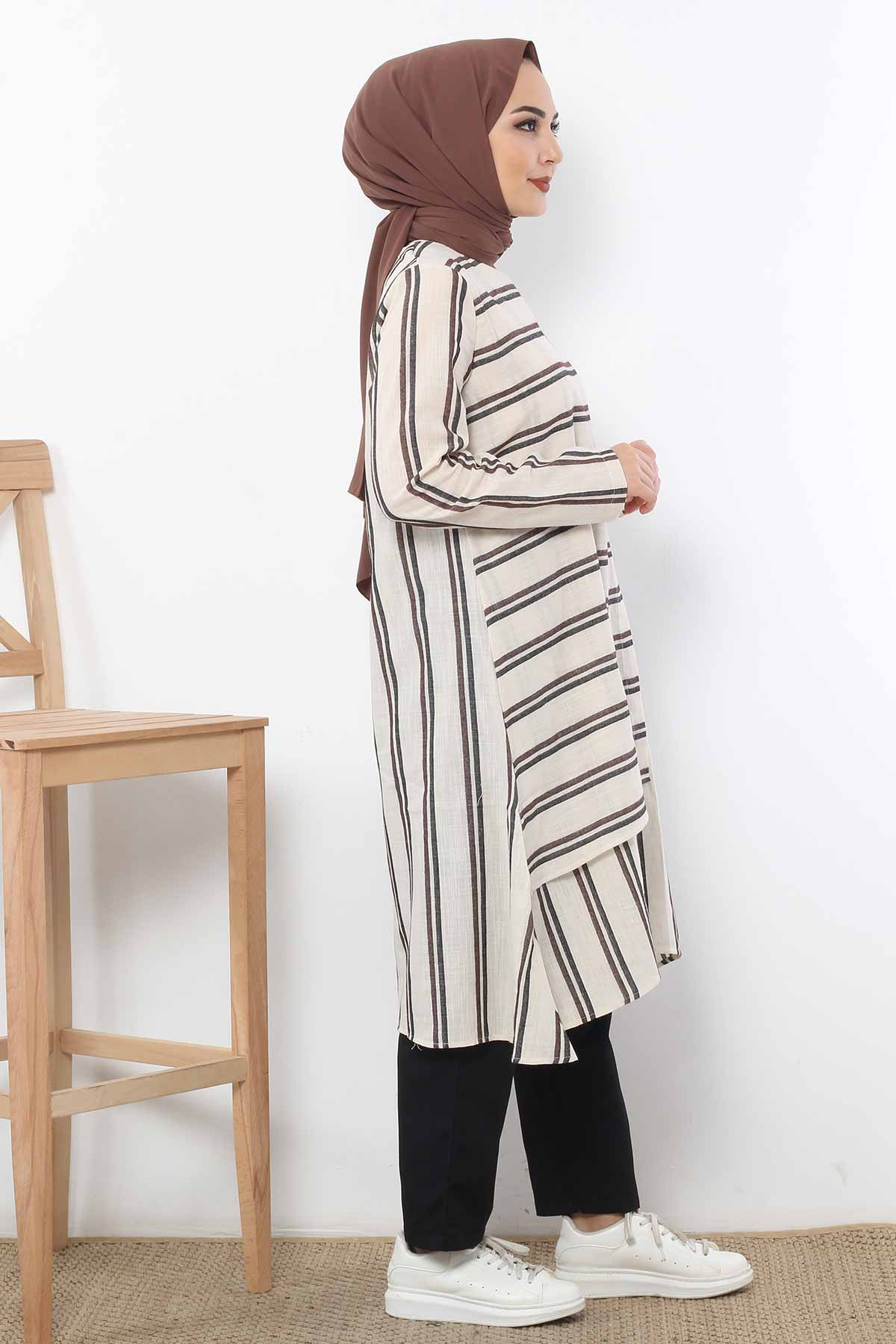 Covered Striped Double Suit TSD1589 Brown