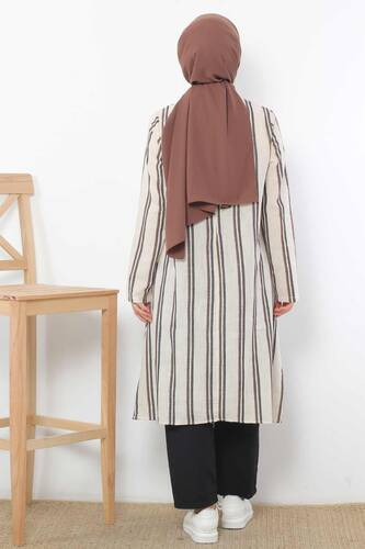 Covered Striped Double Suit TSD1589 Brown - Thumbnail