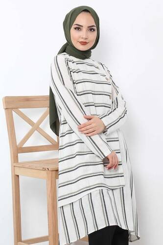 Covered Striped Double Suit TSD1589 Green - Thumbnail