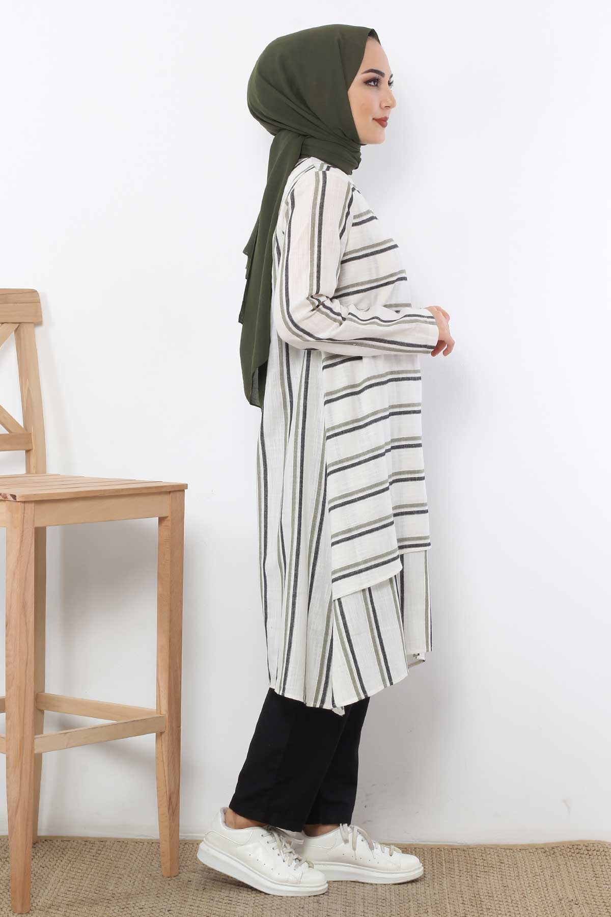 Covered Striped Double Suit TSD1589 Green