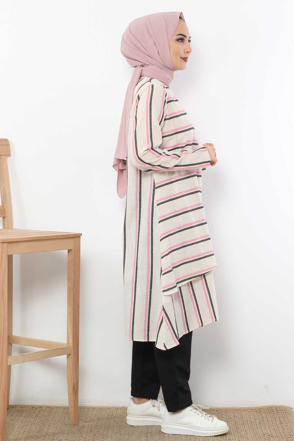 Covered Striped Double Suit TSD1589 Pink