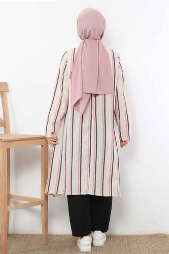 Covered Striped Double Suit TSD1589 Pink - Thumbnail