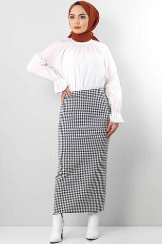 Tesettür Dünyası - Crowbar Pattern Pencil Skirt TSD6612 White