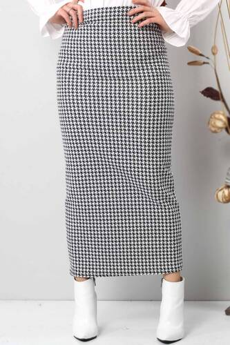 Tesettür Dünyası - Crowbar Pattern Pencil Skirt TSD6612 White (1)