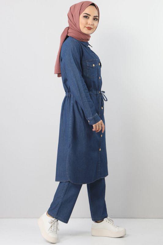 Dark Blue Tie-Waist Double Jeans Suit TSD1625