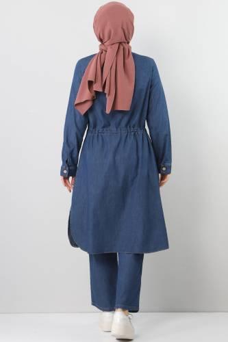 Dark Blue Tie-Waist Double Jeans Suit TSD1625 - Thumbnail
