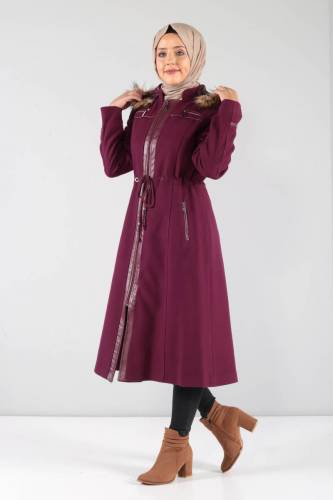 Deri Detaylı Kaşe Palto MVC806K Şarabi - Thumbnail