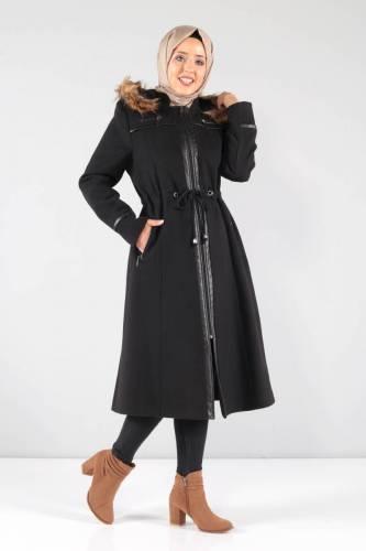 Tesettür Dünyası - Deri Detaylı Kaşe Palto MVC806K Siyah