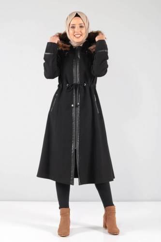 Tesettür Dünyası - Deri Detaylı Kaşe Palto MVC806K Siyah (1)
