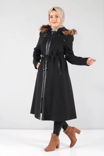 Deri Detaylı Kaşe Palto MVC806K Siyah - Thumbnail