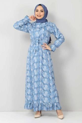 Tesettür Dünyası - Desenli Fırfırlı Elbise TSD2817 Mavi