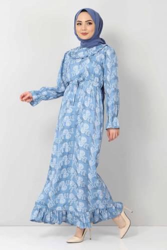 Tesettür Dünyası - Desenli Fırfırlı Elbise TSD2817 Mavi (1)